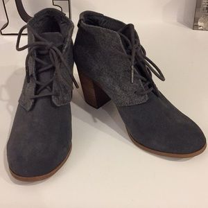 Almost new Toms gray suede and fabric heel boot, 6